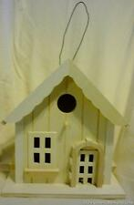 House Shaped Hanging Wood Birdhouse w/Arched Doorway & 3 Windows Crenulated Roof