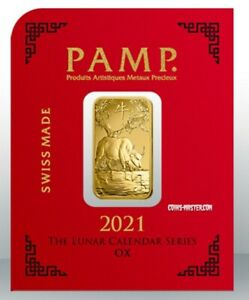 2021 1 Gram GOLD Pamp Suisse LUNAR YEAR OF THE OX Bar In Assay. SUPER RARE