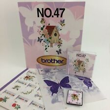 Brother No 47 Machine Embroidery Design Card Butterfly Flowers Birdhouse Folder