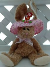 TY Beanie Baby ~ SUNBONNET Easter Bunny Rabbit ~ NEW with Tags Retired PE Pellet