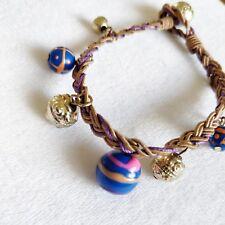 Pretty Hippy Bohemian Bracelet Ceramic Gold & Blue Beads Twisted Cord Handmade