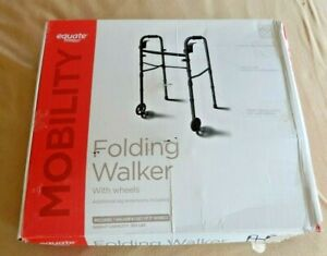 Equate Mobility Folding Walker With Wheels Additional Leg Extensions Incl. - New