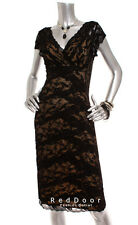 NEW MARINA Women Short Sleeve Lace Tiered Sheath Party Sexy Dress Black Nude 10