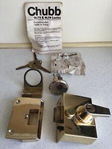 Chubb 4L73 Security Cylinder Rim Auto Deadlock Bolt Brass finish 3 Original Keys
