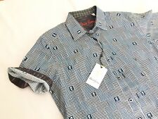 "Robert Graham Men's ""Dittmer"" Black Skull Short Sleeve Shirt 2XL XXL $178 NWT"