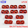 AN10 AN-10 19MM Braided Hose Separator Clamp Fitting Adapter Bracket red 10p
