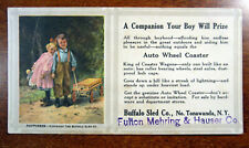 Ink Blotter Artist Signed Carl Hirschberg Auto Wheel Coaster Wagon Boy Happiness