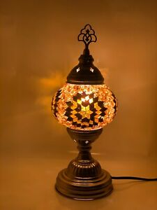 Turkish Moroccan Silver/Chrome Stand Tiffany Glass Desk Table Lamp + Free Bulb