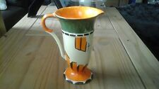 Myott Art Deco Trumpet Jug. Painted Design - Orange, Green, Black and White.