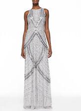 NWT Aidan Mattox Platinum Sequin & Beaded Halter Gown *Size 4