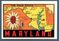 Souvenir TRAVEL DECAL ca.1950s-60s MD MARYLAND State Map, State Flower, L-T VG+