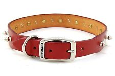 "HAMILTON Spiked & Diamond Studded Leather Dog Collar, 28"" x 1 1/4"", Red"