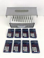 Texas Instruments Ti-108 Lot Of 8 School Solar Calculator Blue Basic Math