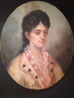 Tableau Ancien Ecole Française XIXeme Portrait de Jeune Femme Huile 19è