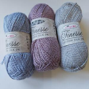 Knitting Yarn - King Cole Finesse - Cotton Silk DK - 50g balls - cotton & silk