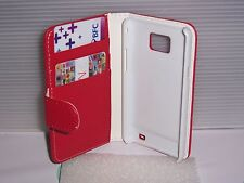 RED FLIP LEATHER WALLET CASE WITH CARD HOLDER COVER FOR SAMSUNG GALAXY S2 /I9100