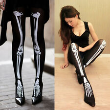 Fashion Lady Punk Skeleton Printed Pantyhose Tights Stockings Socks UK