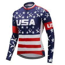 America Cycling Jersey Jacket MTB Bike Motocross Long Bicycle Shirt Top Clothing