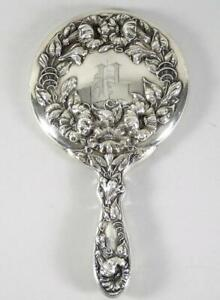 Beautiful Sterling Silver High Relief Floral Design Vanity Mirror