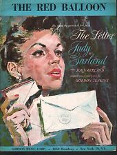 The Red Balloon 1959 Judy Garland The Letter Sheet Music