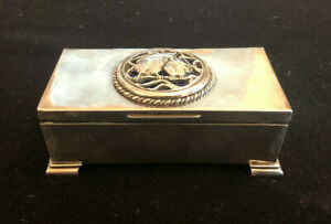Antique English Sterling Silver Jewelry Box with Enamel Top Circa 1924