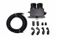 Universal Dual Baffles Engine Oil Catch Can 1.2L AN10 & Hose Kit Black Drag 4x4