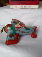 Hallmark Keepsake 1993 Tin Airplane Holiday Fliers Pressed Tin W/Box EUC