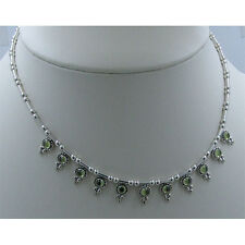 .925 Sterling Silver Natural Green Peridot Strand Necklace