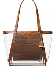 New Michael Kors Whitney shoulder bag clear inset chestnut tote X Lrge plastic