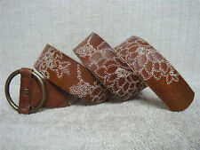 HOLLISTER - Women's Casual Fashion Belt - Brown Leather Embroidery - Size XS