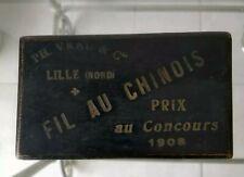 Ancienne Boite Bois Noirci Fil au Chinois prix au concours 1908 PH. Vrau Lille