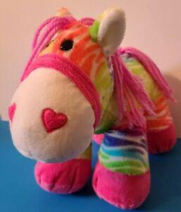"Dan Dee Collectors Choice NEON Rainbow Striped Pony / Horse Plush 16"" Yarn Tail"
