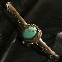 BEAUTIFUL VINTAGE ESTATE STERLING SILVER TURQUOISE HAND MADE STAR CUFF BRACELET