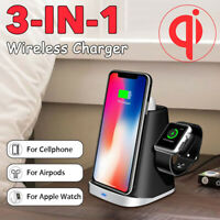 3in1 Qi Wireless Charger Dock Pad Stand For Samsung Iphone Air pod Apple Watch