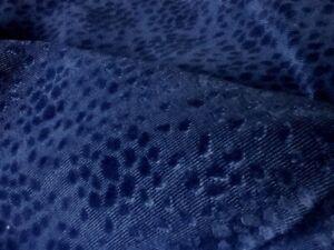 "Cowtan & Tout Navy ""Ocelot"" Animal Print Heavy Epingle Cut Velvet Fabric"