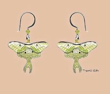 Bamboo Jewelry LUNA MOTH Cloisonne EARRINGS STERLING Nature Dangle + Box