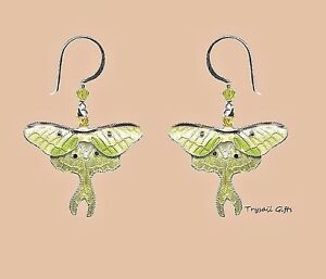 Bamboo Jewelry LUNA MOTH Cloisonne EARRINGS STERLING Nature Swarovski + Boxed