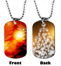 DOG TAG NECKLACE - Christmas 1 Tree Christian Religious God Jesus Cross Bible