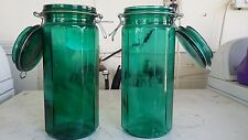 """ANTIQUE EMERALD Green Glass 10"""" Apothecary Jar - Medical SUPPLY Storage - Bottle"""