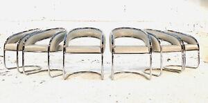 Mid Century Modern Chrome Dining Chairs BAUGHMAN CY MANN LEATHER GRAY MOD RETRO