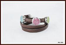 Druckknopf  Click Leder Wickelarmband  braun passend für Chunk & Noosa
