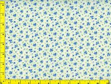 Blue Flower Bouquets &  Flowers on White Quilting Fabric by Yard #781