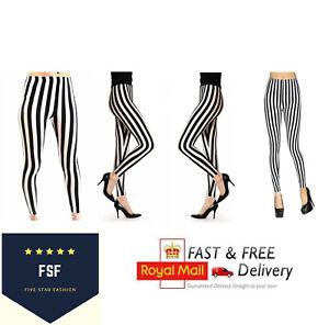 New Women's Full Length Black And White Vertical Print Stripe Halloween Leggings