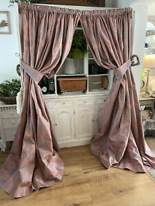 Vintage Dusky Pink Blue French Damask Huge Curtains * 2 Pairs Available 85D 107W