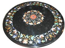 "24"" Marble Table Top round Pietra Dura Inlay Work Home Garden Decor"