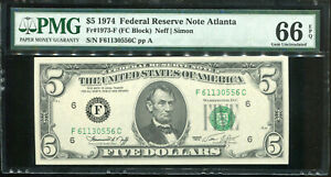 1974 $5 Federal Reserve  Note Atlanta F61130556C PMG Gem Uncirculated 66EPQ