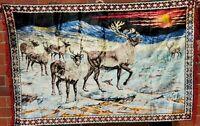 VTG 70's Elk Water Scene Velvet Velveteen Fringe Tapestry Wall Hanging 70 x 46