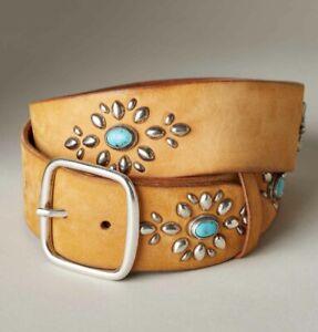 "Tan Sundance Shailene Genuine Leather Belt Small33-1/2"" Western Women's Studded"