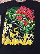 RETRO Asking Alexandria Shirt Men's M UK Punk Twin Skull Black FREE SHIPPING