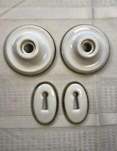 Lot of 2 Vintage White Porcelain Door Key Hole & 2 Bath Escutcheons Gold Edged